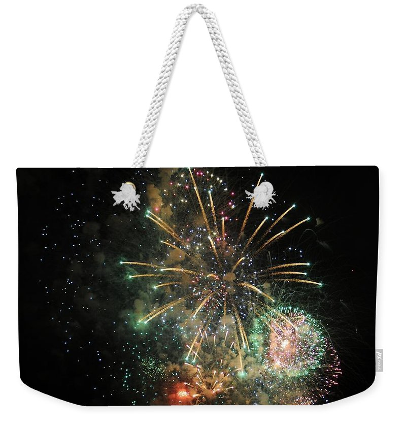 Explosion Weekender Tote Bag featuring the photograph Explosion Of Color On Canada Day by Vivian Christopher