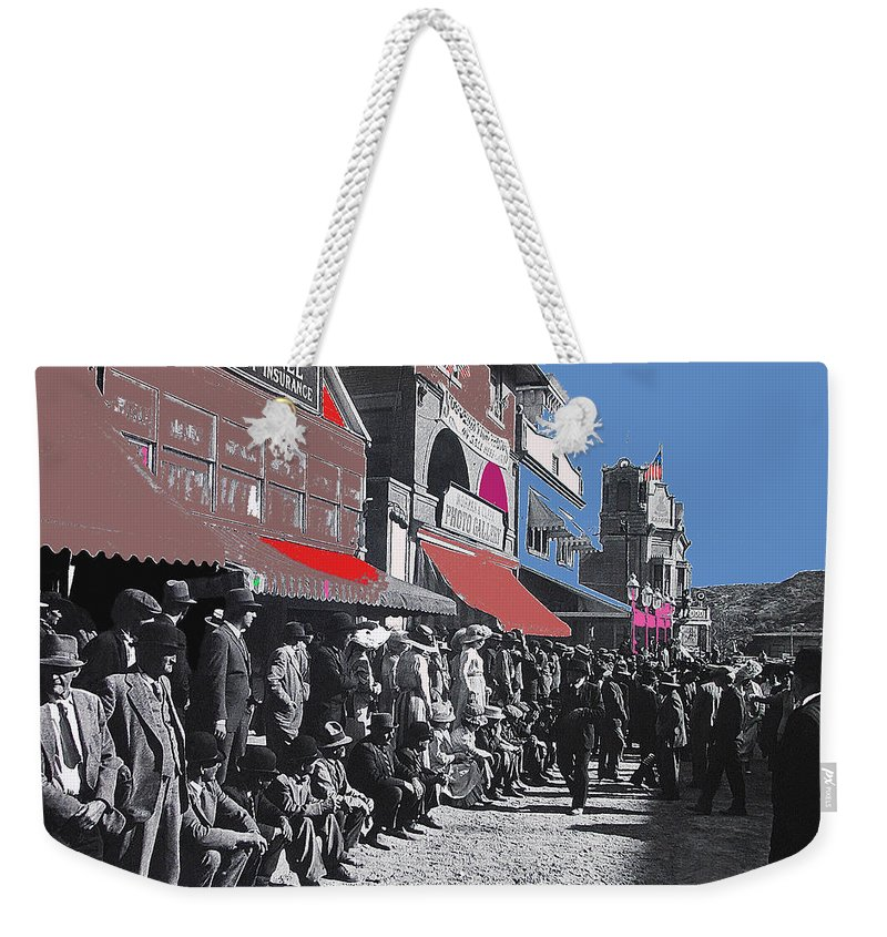 Extras The Great White Hope Set Recreation Reno Nevada July 4th 1910 Color Added Jack Johnson Jim Jeffries Howard Sackler John Ford John Wayne The Quiet Man Victor Mclaglen Republic Pictures Weekender Tote Bag featuring the photograph Extras The Great White Hope Set Recreation Reno Nevada July 4th 1910 by David Lee Guss