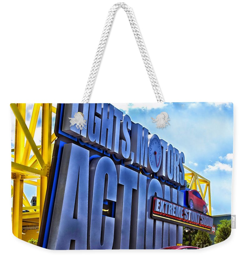 Extreme Stunt Show Weekender Tote Bag featuring the photograph Extreme Stunt Show 1 by Thomas Woolworth