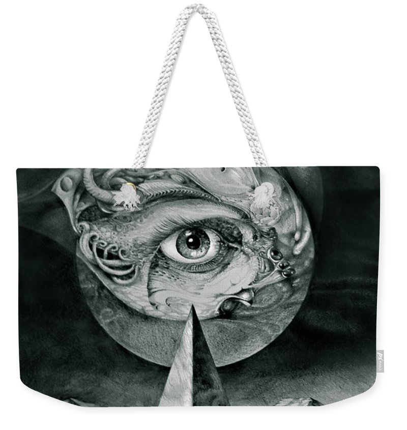 otto Rapp Surrealism Weekender Tote Bag featuring the drawing Eye Of The Dark Star by Otto Rapp
