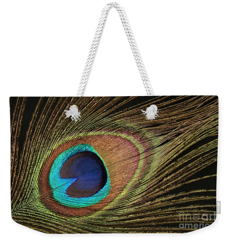 Peacock Weekender Tote Bag featuring the photograph Eye Of The Peacock #5 by Judy Whitton