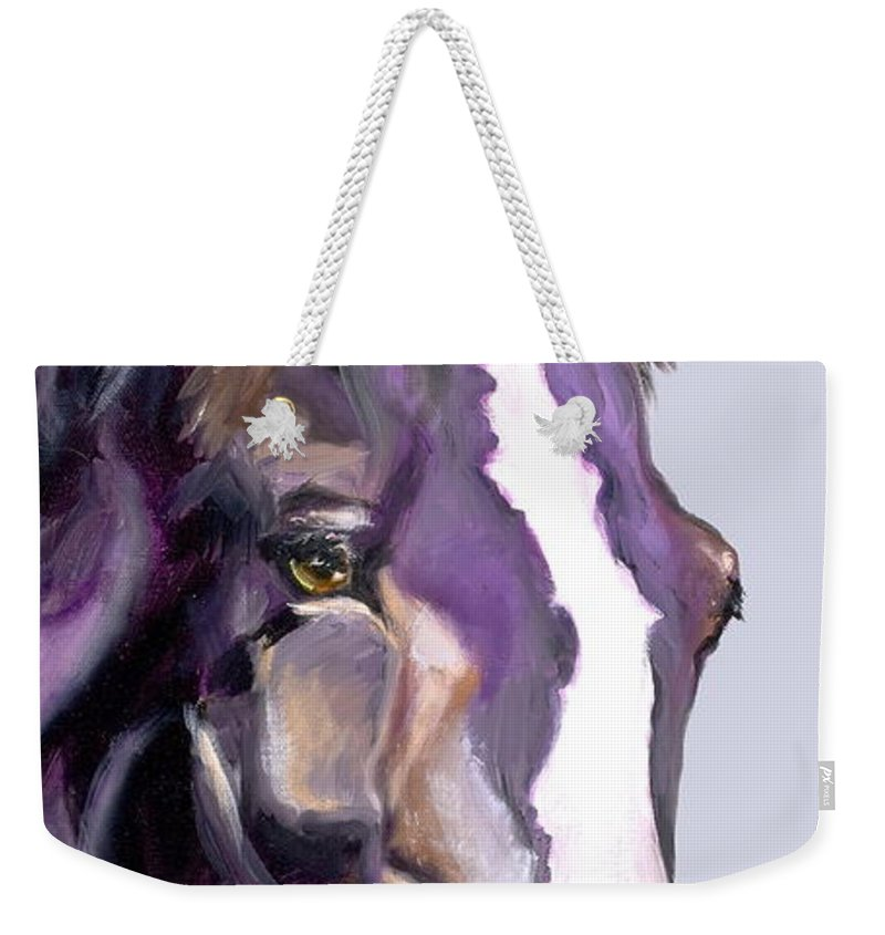 Thoroughbred Weekender Tote Bag featuring the painting Eye On The Prize by Susan A Becker