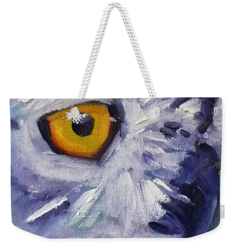 Owl Weekender Tote Bag featuring the painting Eye On You by Nancy Merkle