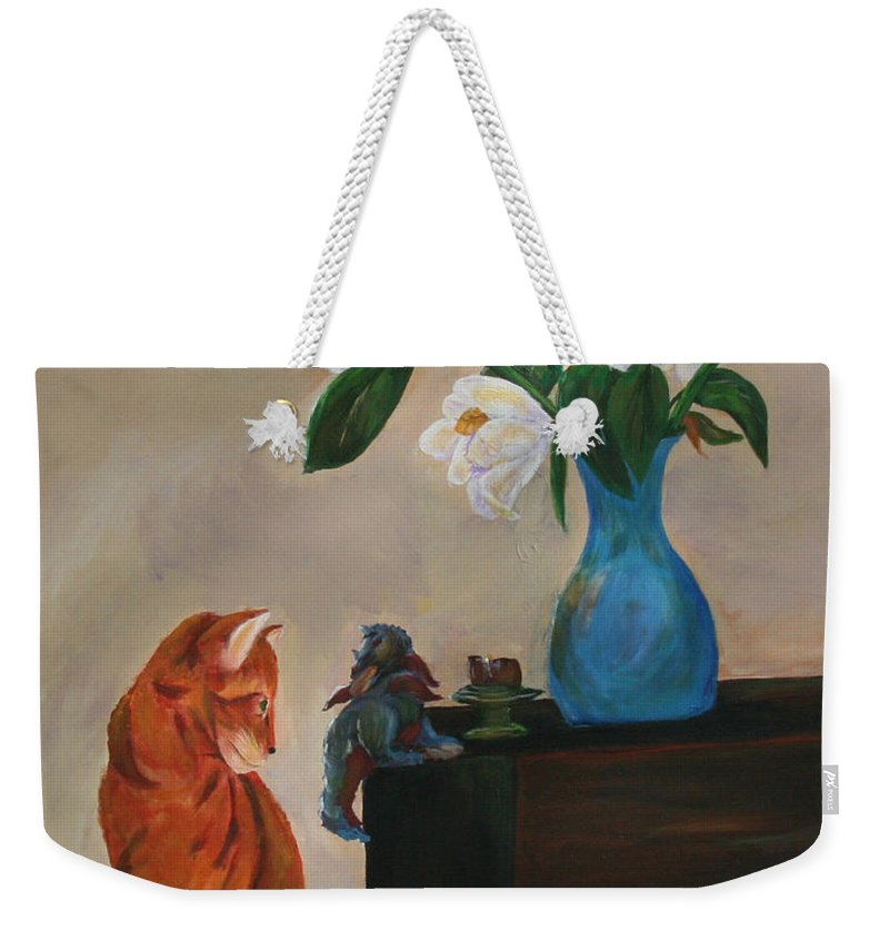 Cat Art Weekender Tote Bag featuring the painting Eye To Eye by Gail Daley