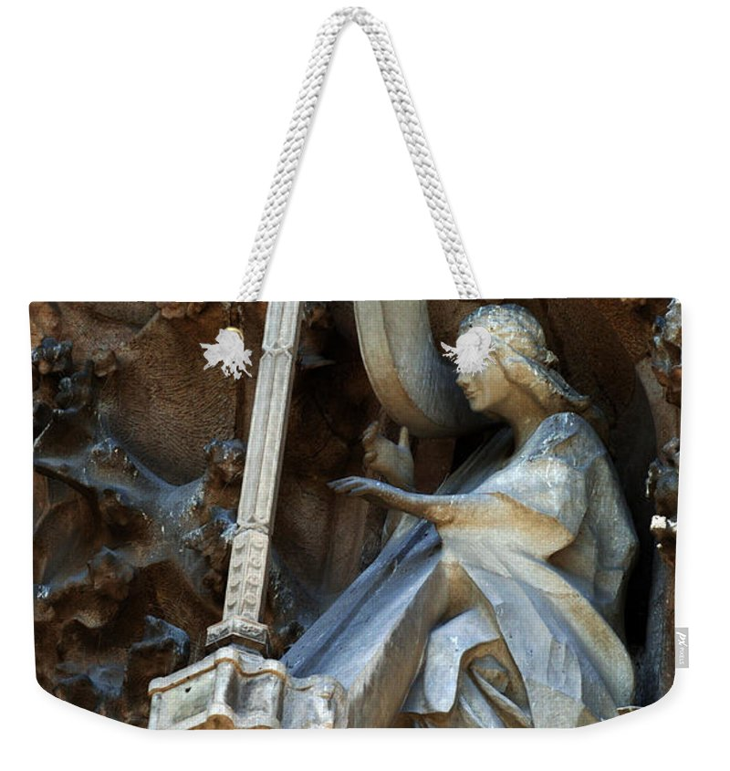 Passion Facade Weekender Tote Bag featuring the photograph Facade Of Sagrada Familia by Bob Christopher