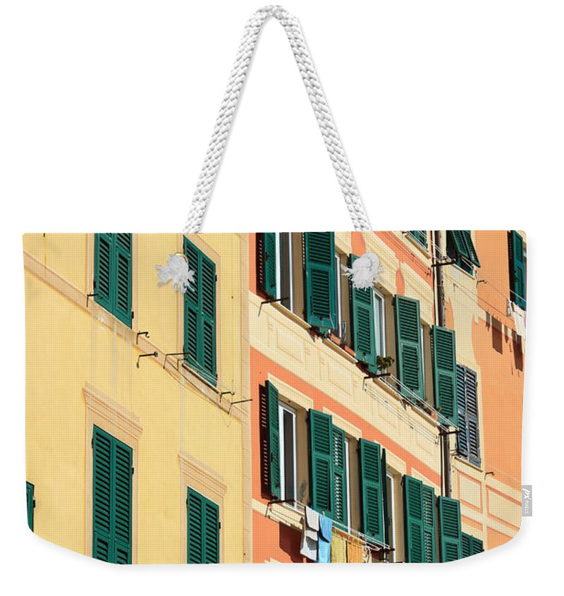 Architecture Weekender Tote Bag featuring the photograph facades in Camogli by Antonio Scarpi