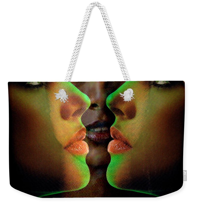 Women Weekender Tote Bag featuring the digital art Face 2 Face by Seth Weaver