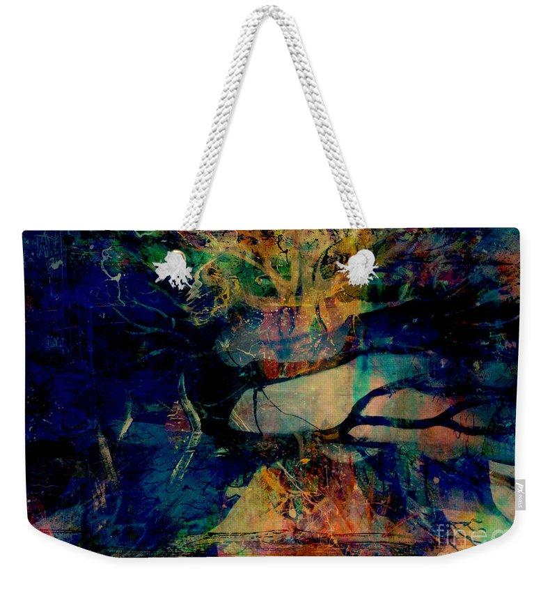 Fania Simon Weekender Tote Bag featuring the mixed media Face Cachee by Fania Simon