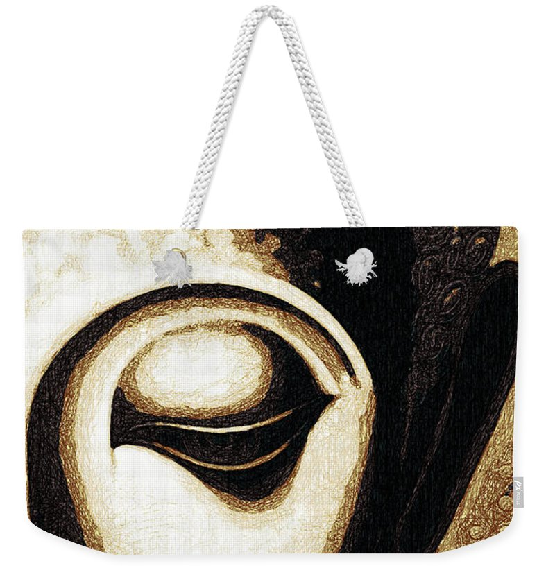Face Weekender Tote Bag featuring the digital art Face Color Lino by David Lange
