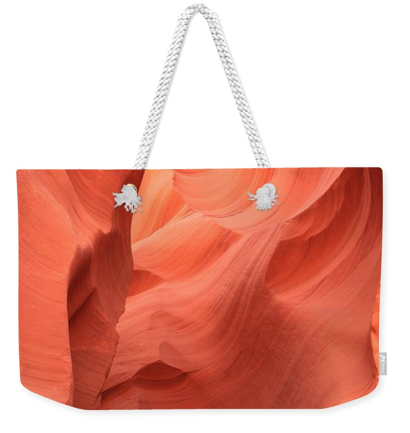 Arizona Slot Canyon Weekender Tote Bag featuring the photograph Face In The Fire by Adam Jewell
