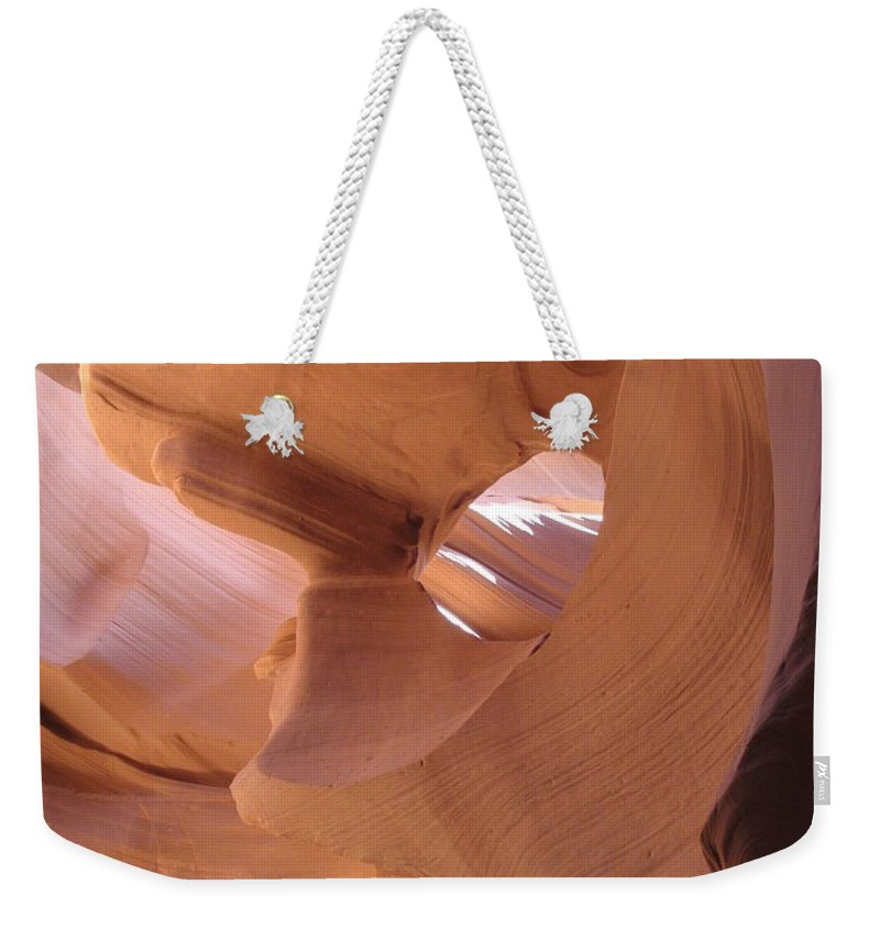 Narrow Canyon Weekender Tote Bag featuring the photograph Face In The Stone by Christiane Schulze Art And Photography