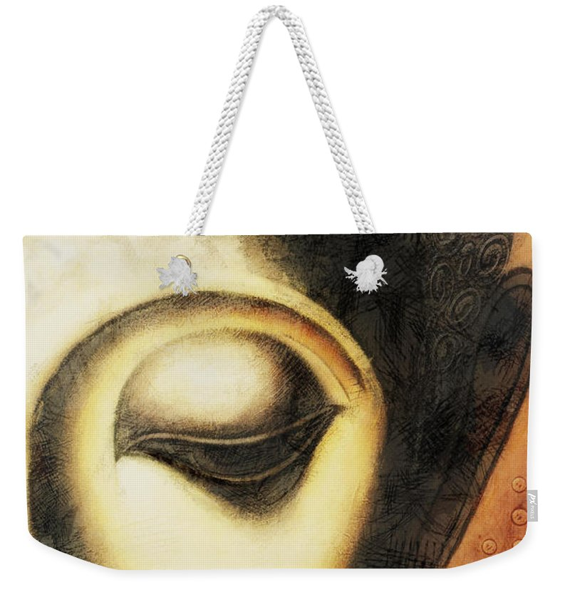 Face Weekender Tote Bag featuring the digital art Face Lux by David Lange