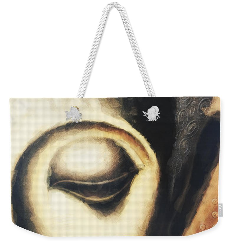 Face Weekender Tote Bag featuring the digital art Face Neo by David Lange