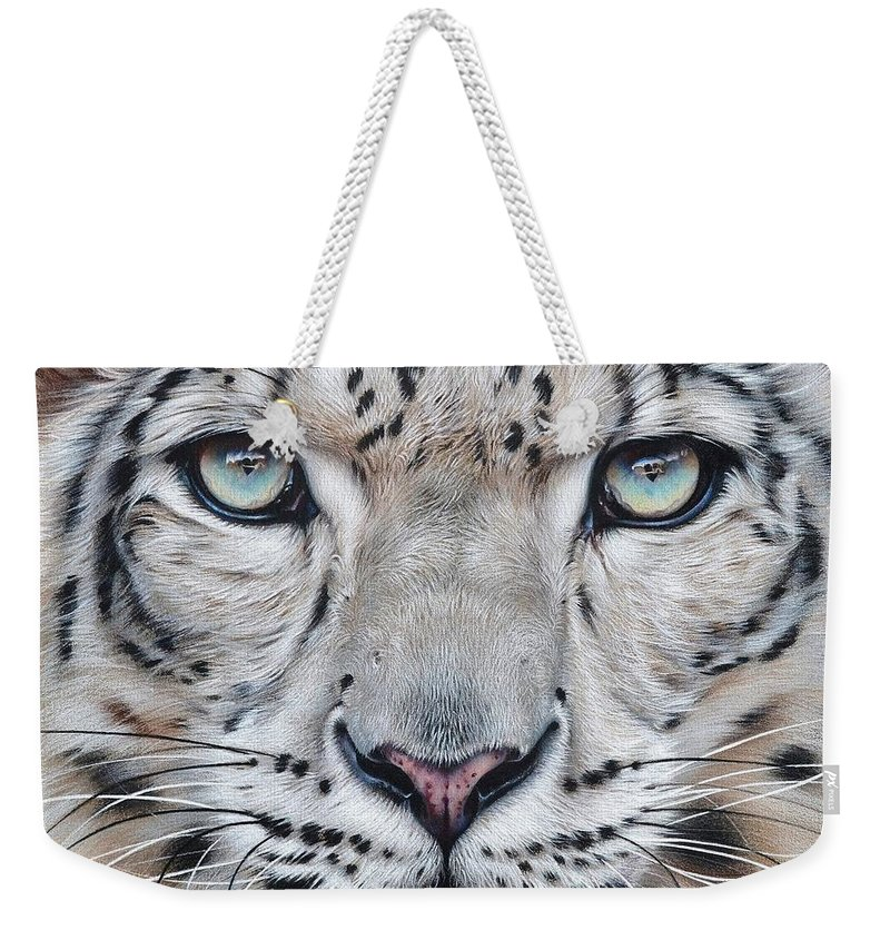 Animal Weekender Tote Bag featuring the mixed media Faces Of The Wild - Snow Leopard by Elena Kolotusha