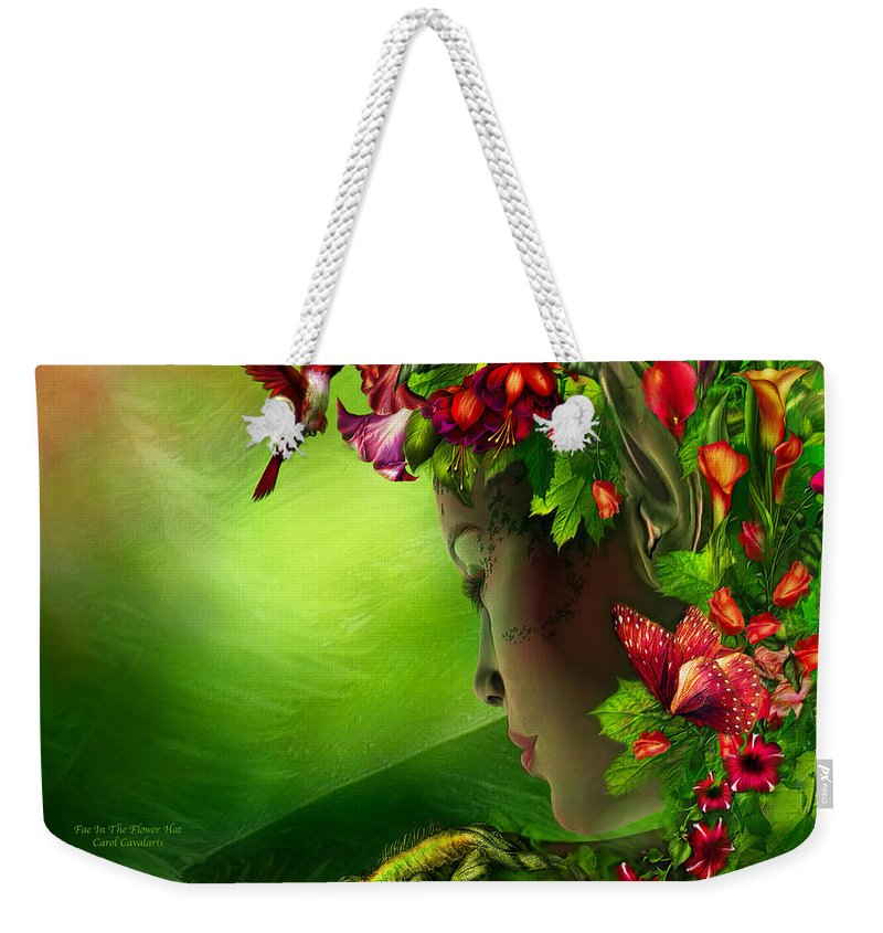 Fae Weekender Tote Bag featuring the mixed media Fae In The Flower Hat by Carol Cavalaris