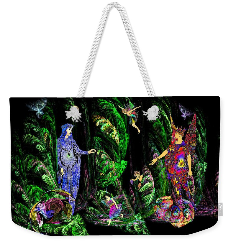 Fairy Weekender Tote Bag featuring the digital art Faery Forest by Lisa Yount