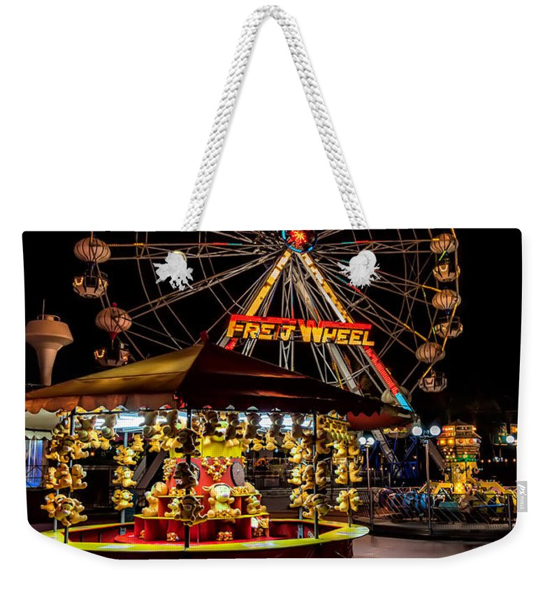 Carnival Weekender Tote Bag featuring the photograph Fairground At Night by Adrian Evans