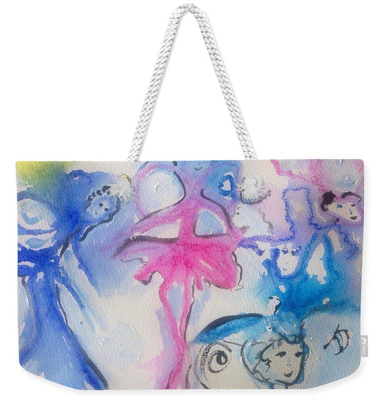 Fairies Weekender Tote Bag featuring the painting Fairies by Judith Desrosiers