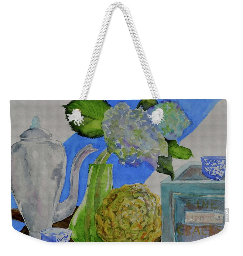 Watercolor Weekender Tote Bag featuring the painting Fairy Soda Fine Crackers by Beverley Harper Tinsley