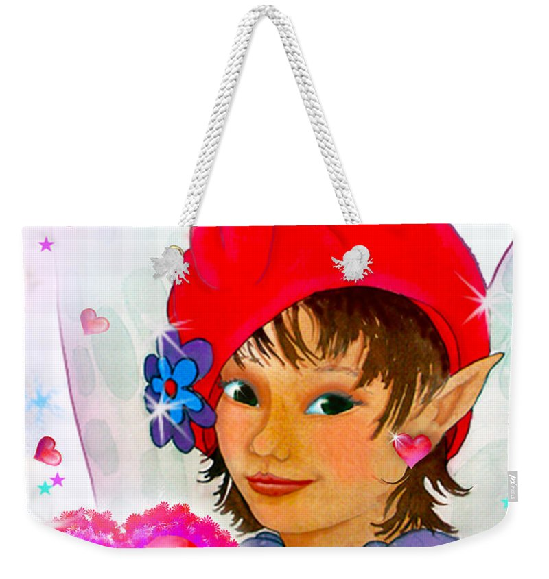 Fairy Weekender Tote Bag featuring the painting Fairy Valentine by Teresa Ascone