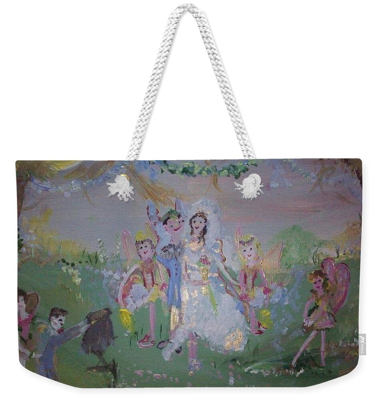 Fairy Weekender Tote Bag featuring the painting Fairy Wedding by Judith Desrosiers