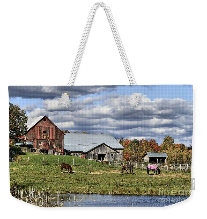 Barn. Horses Weekender Tote Bag featuring the photograph Fall At The Horse Farm by Deborah Benoit