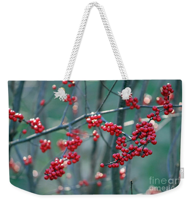 Red Weekender Tote Bag featuring the photograph Fall Berries by Ulli Karner