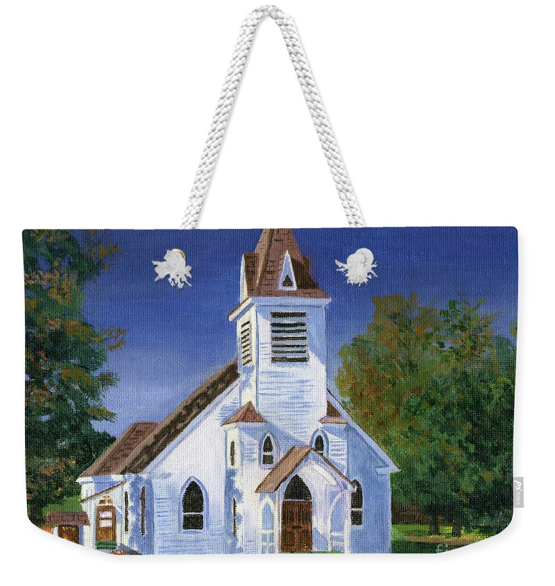 Acrylic Weekender Tote Bag featuring the painting Fall Church by Lynne Reichhart