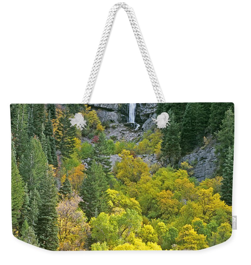 North America Weekender Tote Bag featuring the photograph Fall Color And Waterfalls In Provo Canyon Utah by Dave Welling