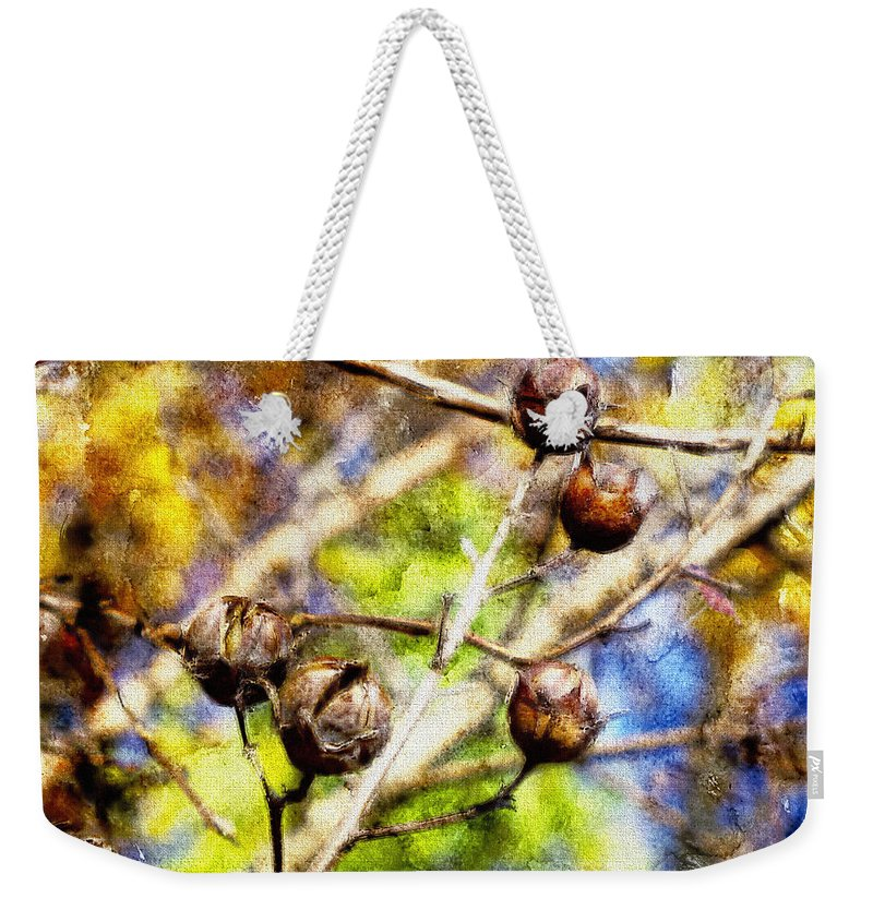 Fall Weekender Tote Bag featuring the photograph Fall Crepe Myrtle by Melissa Bittinger