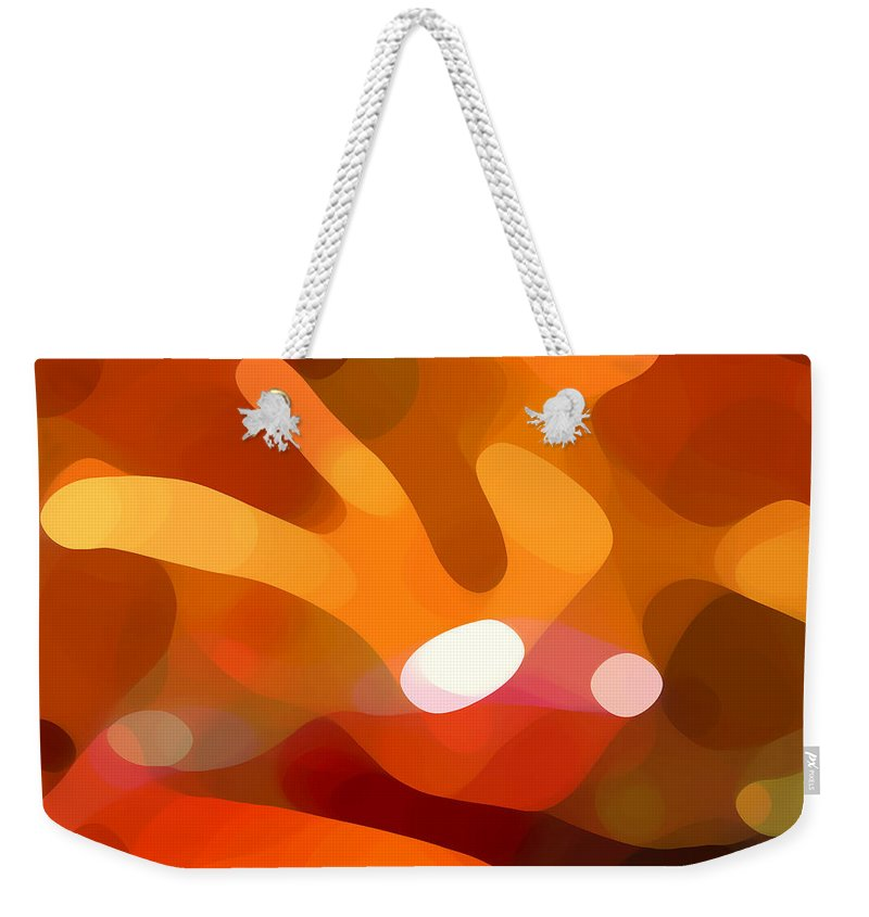 Abstract Weekender Tote Bag featuring the painting Fall Day by Amy Vangsgard