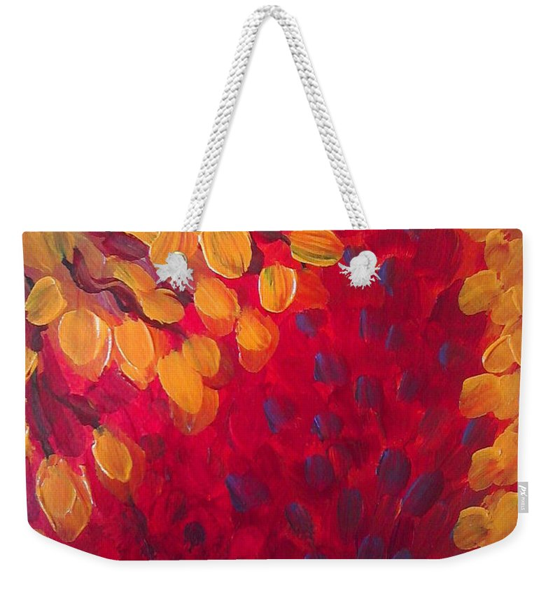 Abstract Weekender Tote Bag featuring the painting Fall Flurry by Holly Carmichael