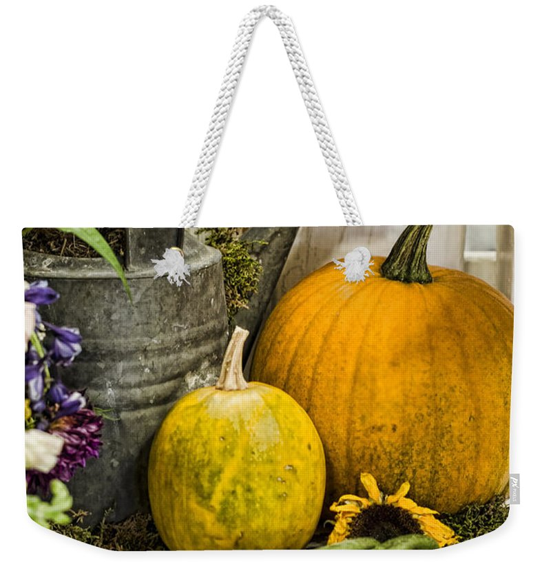 Pumpkin Weekender Tote Bag featuring the photograph Fall Harvest by Heather Applegate