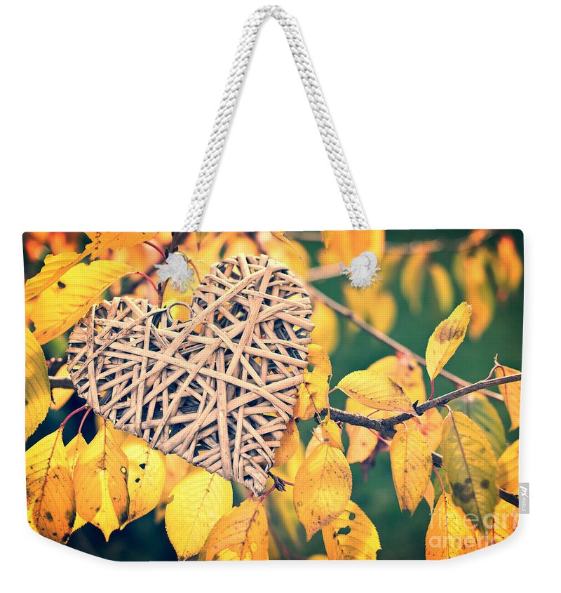 Autumn Weekender Tote Bag featuring the photograph Fall In Love by Delphimages Photo Creations
