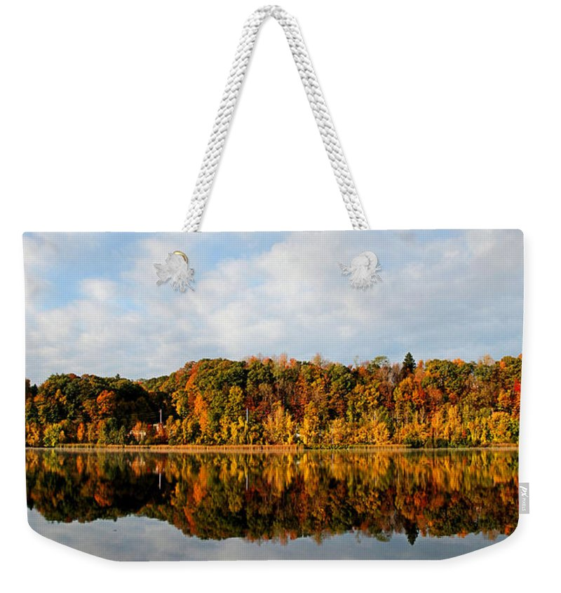 Lake Weekender Tote Bag featuring the photograph Fall On The Lake by DJ Florek