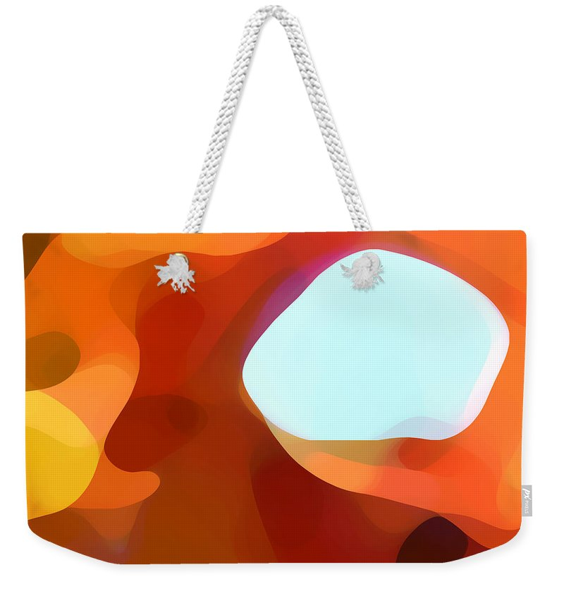 Abstract Weekender Tote Bag featuring the painting Fall Passage by Amy Vangsgard