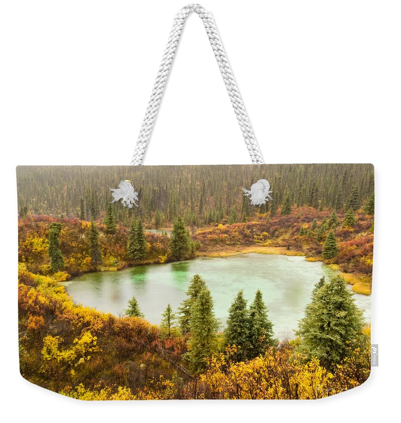 Autumn Weekender Tote Bag featuring the photograph Fall Rain On Wilderness Lake Yukon T Canada by Stephan Pietzko