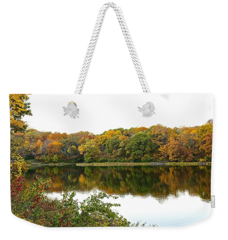 Lake Weekender Tote Bag featuring the photograph Fall Reflections by Ken Kobe