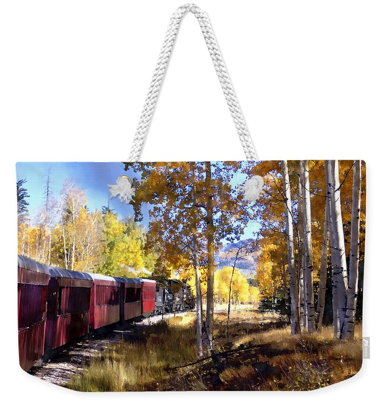 Chama Weekender Tote Bag featuring the photograph Fall Train Ride New Mexico by Kurt Van Wagner