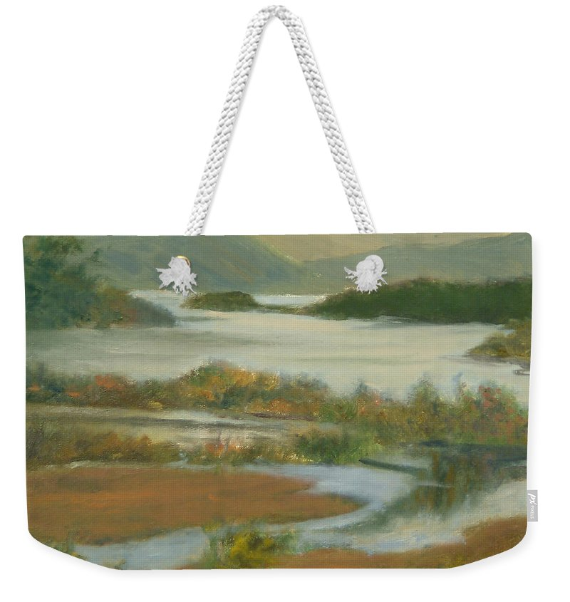 Boscobel Weekender Tote Bag featuring the painting Fall View From Boscobel by Phyllis Tarlow