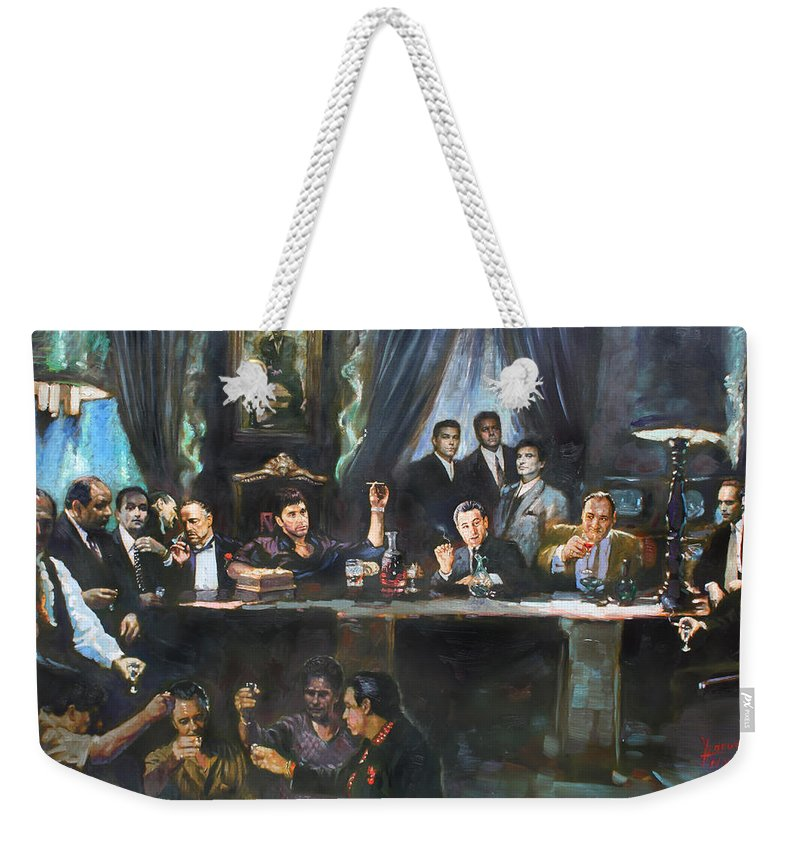 Gangsters Weekender Tote Bag featuring the painting Fallen Last Supper Bad Guys by Ylli Haruni
