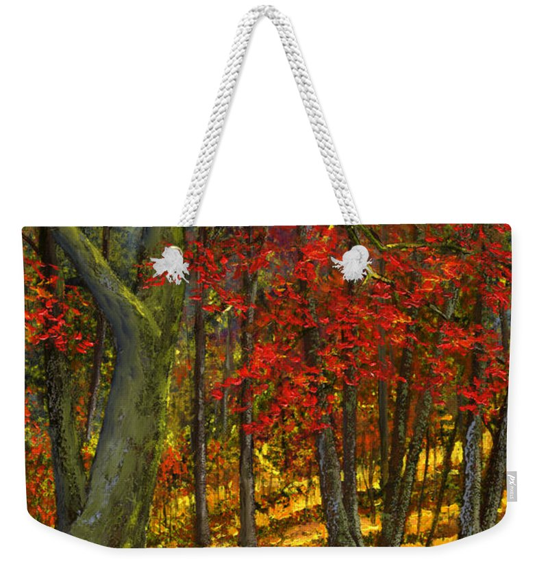 Landscape Weekender Tote Bag featuring the painting Fallen Leaves by Frank Wilson