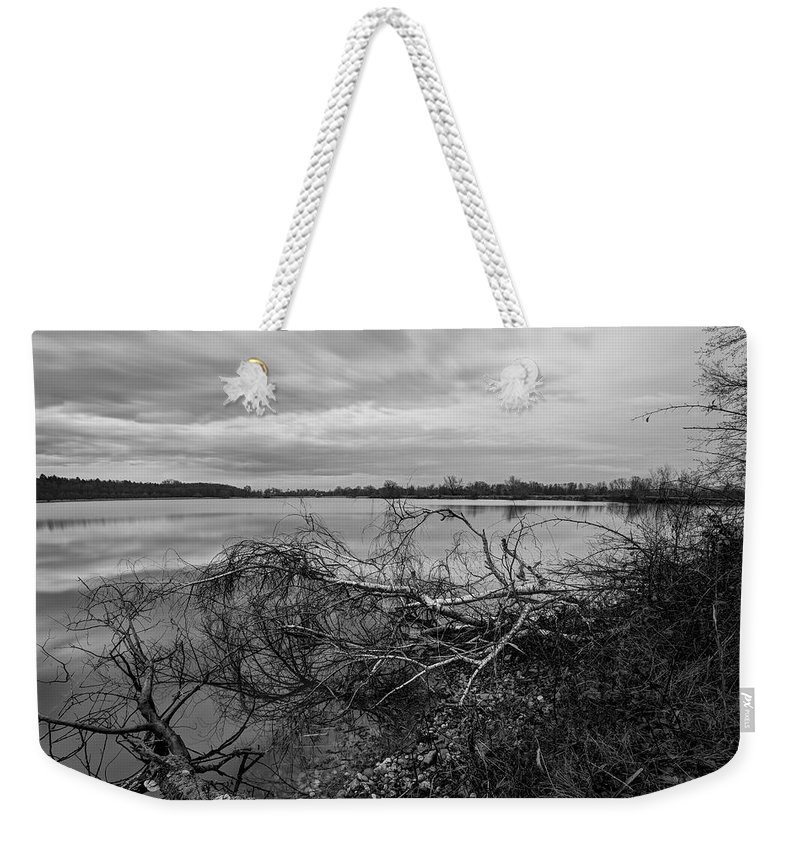 Black Weekender Tote Bag featuring the photograph Fallen Trees At The Lake by Ivan Slosar