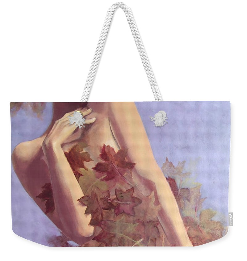 Painting Weekender Tote Bag featuring the painting Fall...in Love... by Dorina Costras