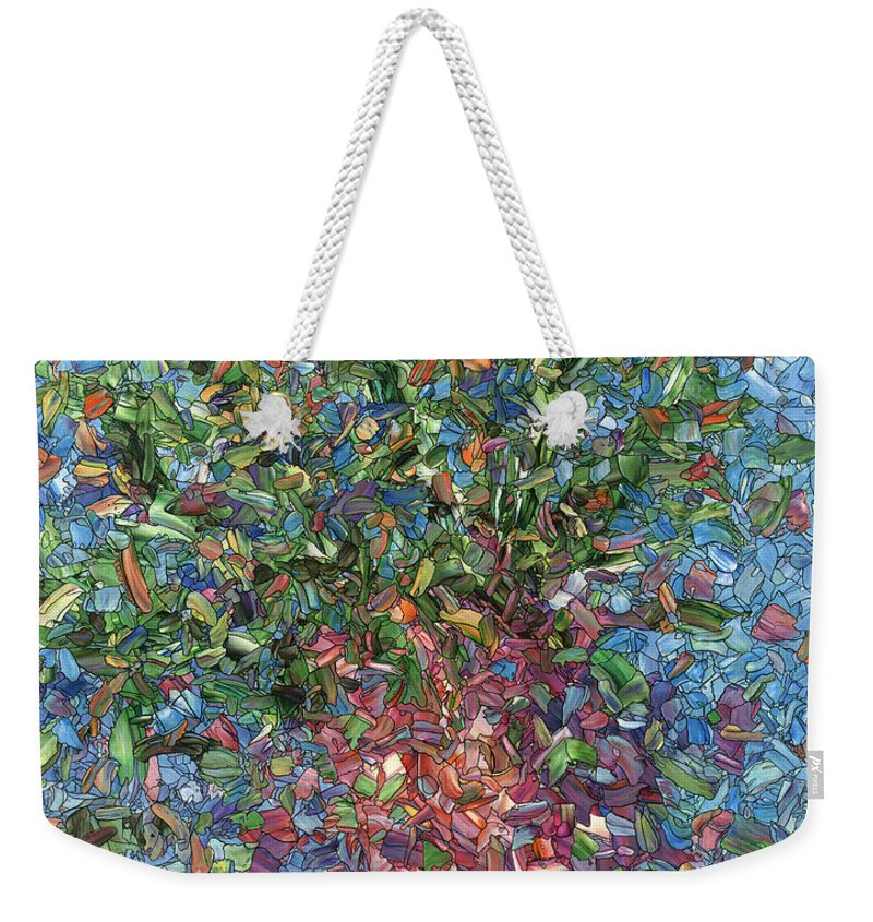 Flowers Weekender Tote Bag featuring the painting Falling Flowers by James W Johnson