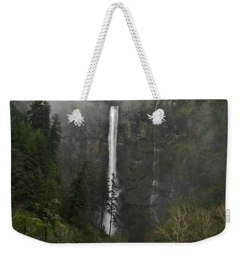 Falling From The Mist Weekender Tote Bag featuring the photograph Falling From The Mist by Wes and Dotty Weber
