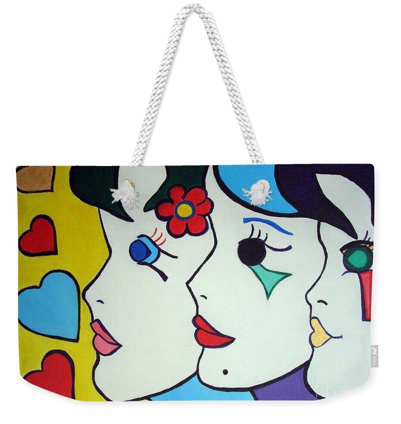 Pop-art Weekender Tote Bag featuring the painting Falling In Love by Silvana Abel