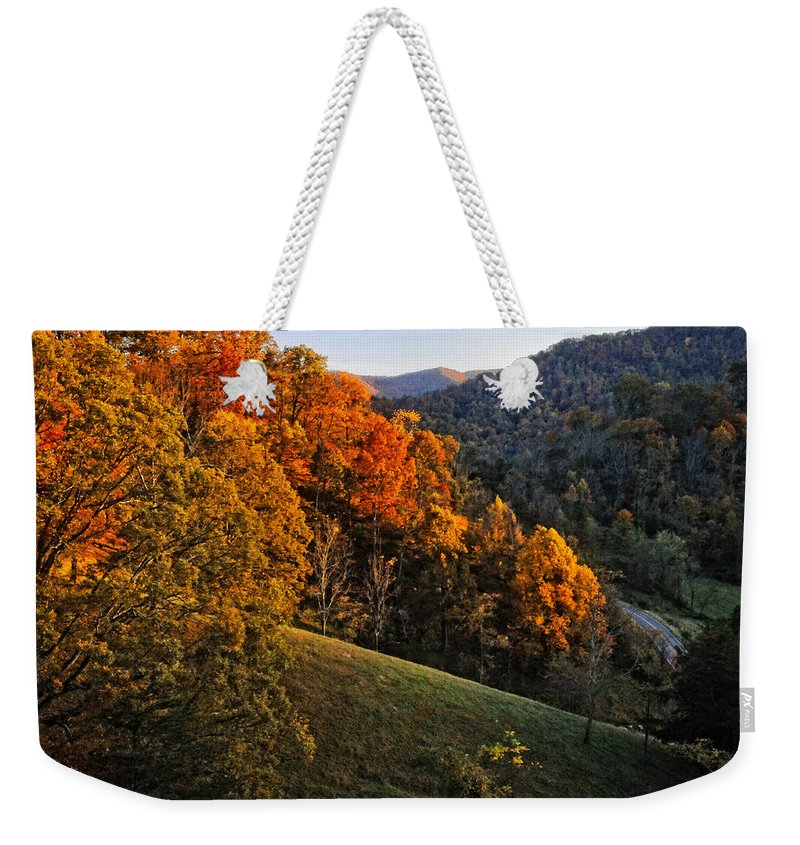 Fall Weekender Tote Bag featuring the photograph Fall's Mountainside Cascade by Lynn Bauer