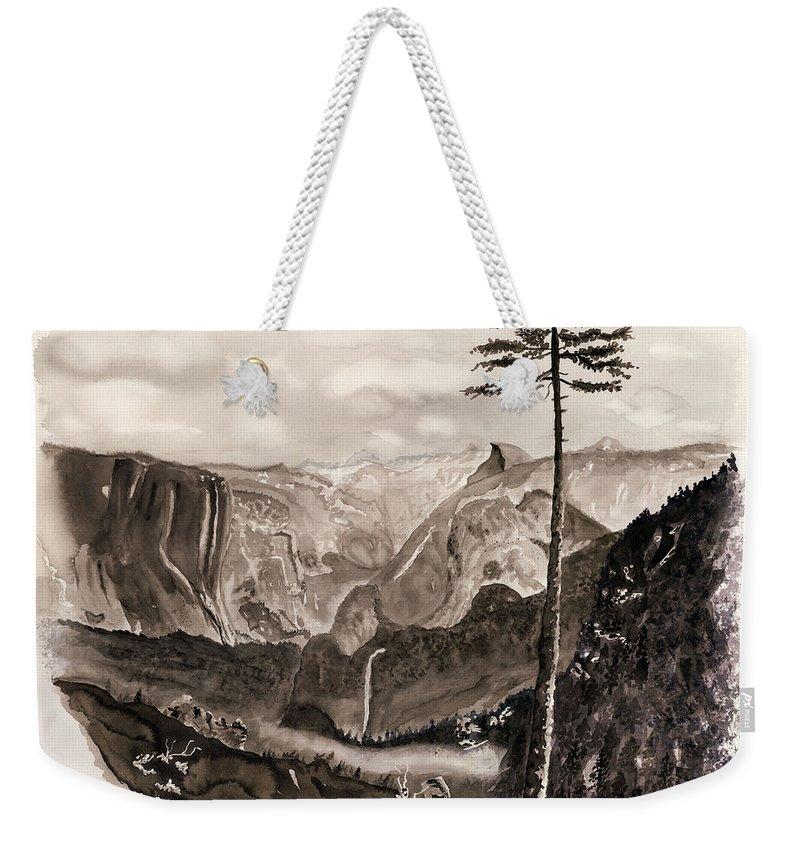 Yosemite Painting Weekender Tote Bag featuring the painting Falls Of The Yosemite Painting by Warren Thompson