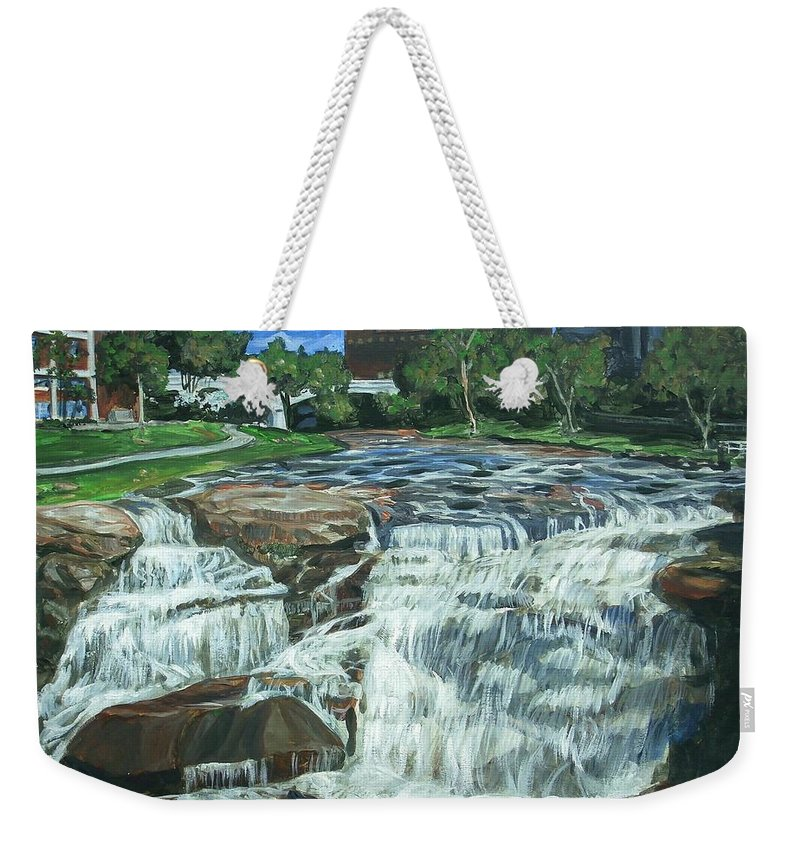 Waterfall Weekender Tote Bag featuring the painting Falls River Park by Bryan Bustard